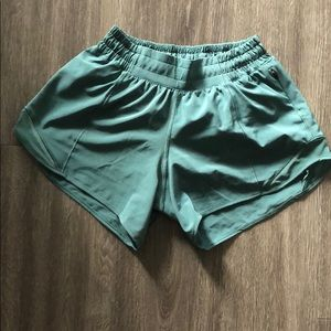 Teal Lululemon tall shorts